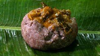 Ragi sangati with Egg Plant Masala