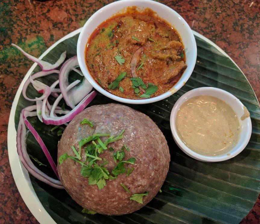 Ragi Sangati with Natukodi Curry